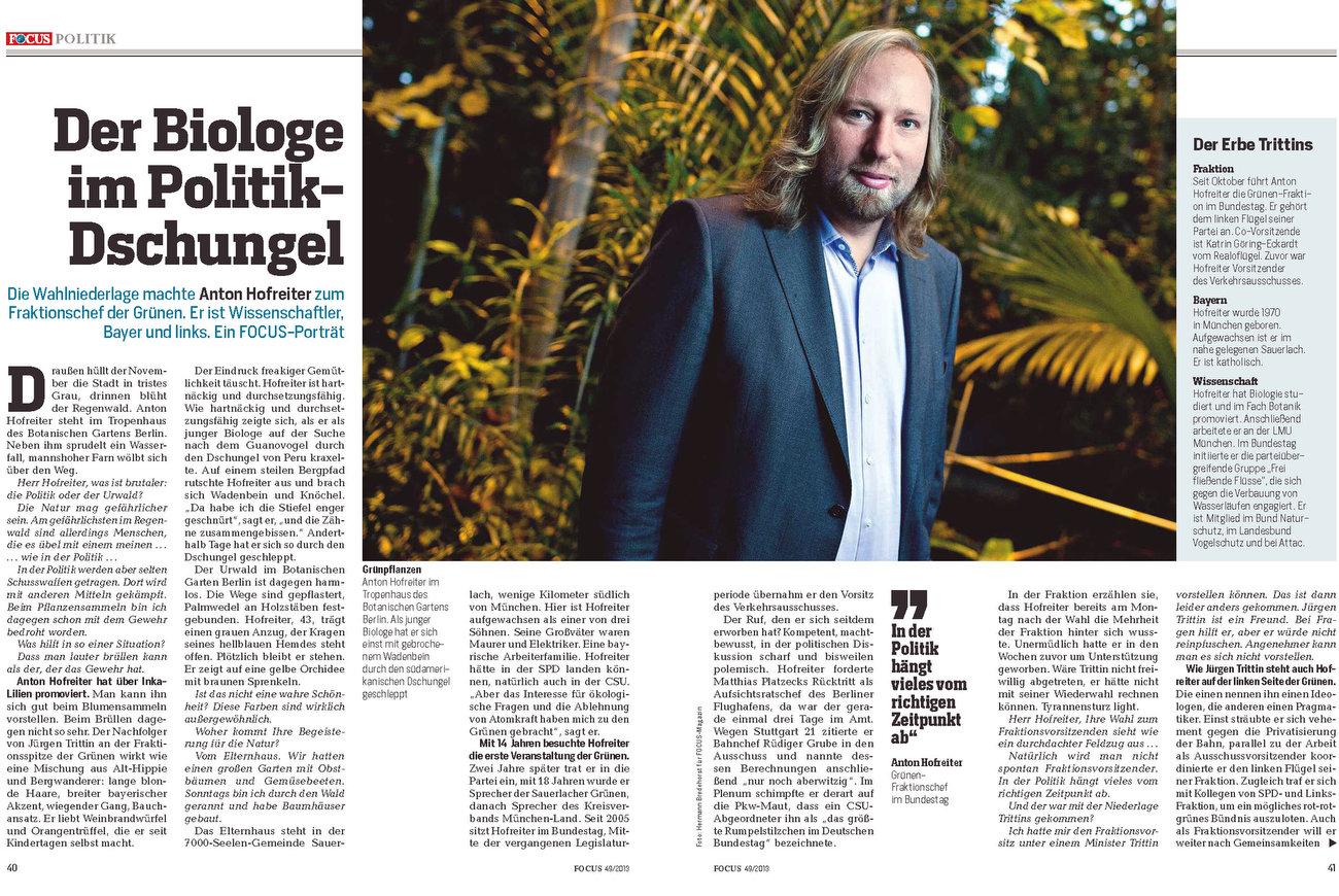 Focus, Germany, 02.12.2013, Anton Hofreiter