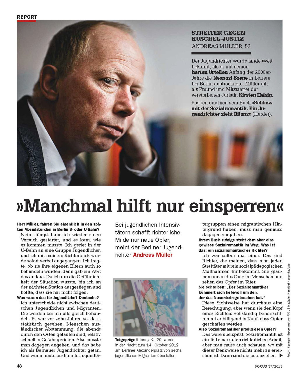 Focus Magazine, Germany, 09/2013, Andreas Mueller, juvenile court judge