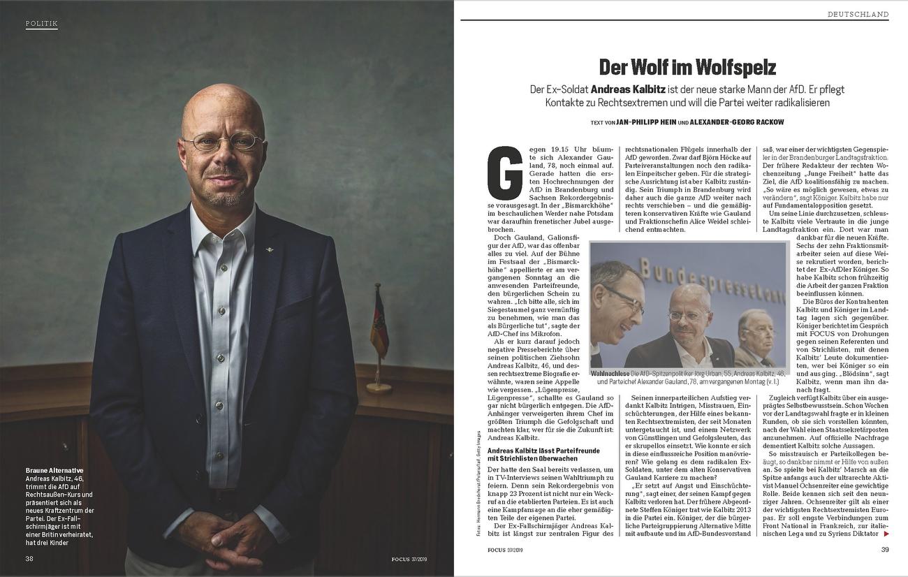 Focus Magazine, Germany, Andreas Kalbitz