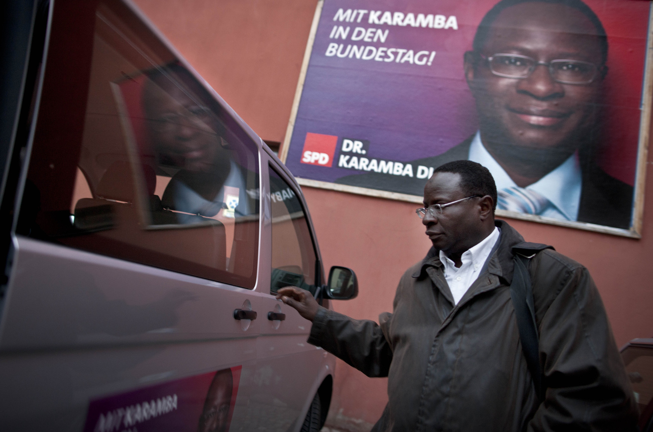 Senegalese born Karambe Diaby , Social Democratic candidate for the German Parliament on the campaign trail in his constituency in Halle/Saale. Diaby, a PhD in chemistry, canvassed the former hub for East Germany's chemical industry to become the first black member of the Bundestag in German history.
