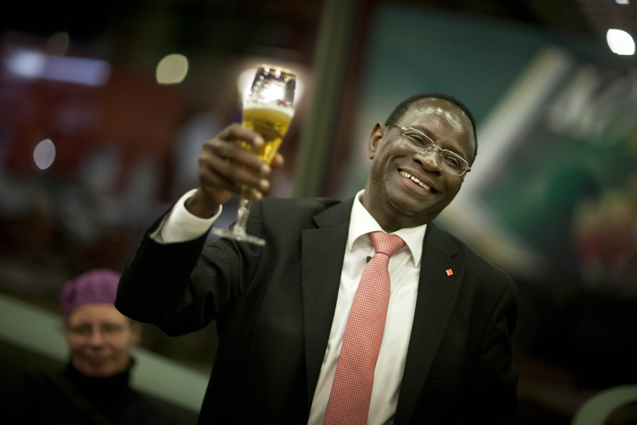 Senegalese born Karambe Diaby reacts after the final projections on election day in his constituency in Halle/Saale. Diaby, a PhD in chemistry, canvassed the former hub for East Germany's chemical industry to become the first black member of the Bundestag in German history. Although Karamba failed to secure a direct mandate from his district, he managed to get elected through Germans' second votes, which are cast for so-called party lists.