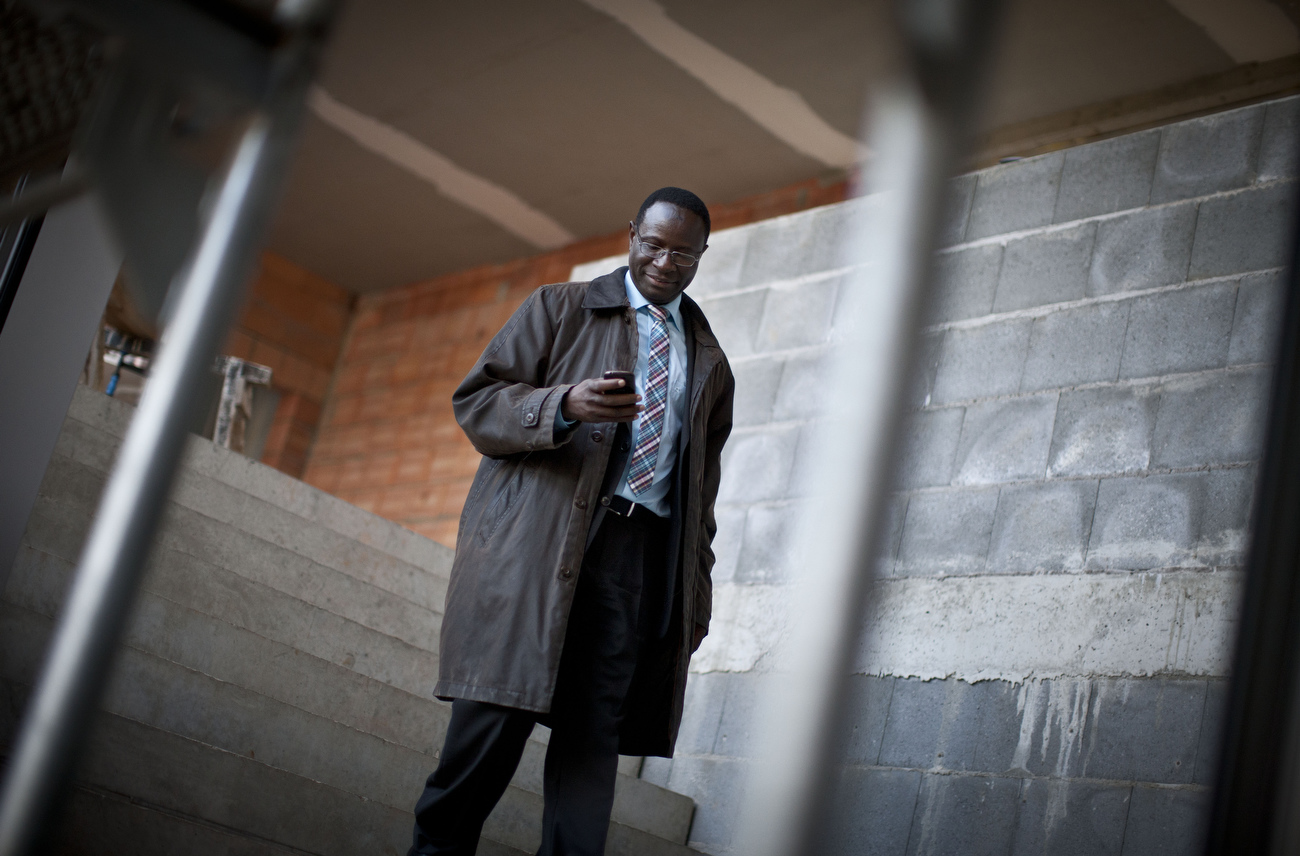 Senegalese born Karambe Diaby , Social Democratic candidate for the German Parliament checks his phone while being on the campaign trail in his constituency in Halle/Saale. Diaby, a PhD in chemistry, canvassed the former hub for East Germany's chemical industry to become the first black member of the Bundestag in German history.