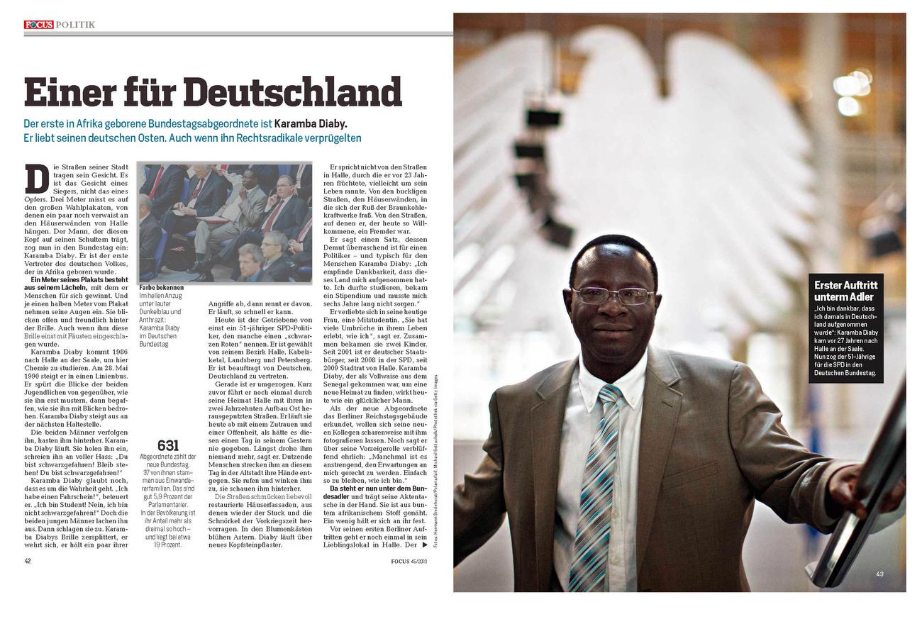 FOCUS Magazine, Germany, 04.11.2013, Germany: Karamba Diaby