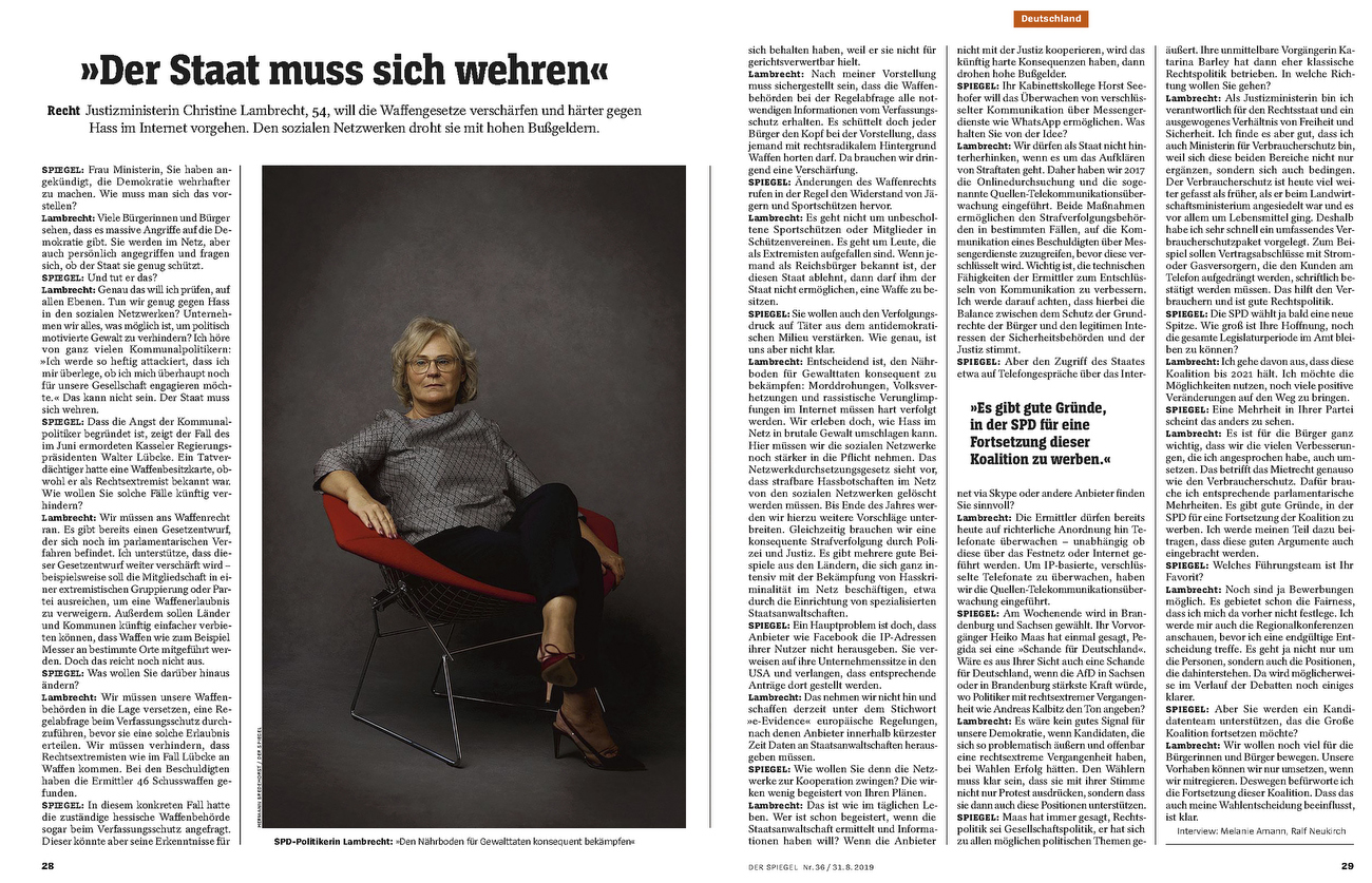 SPIEGEL, Christine LambrechtFederal Minister of Justice