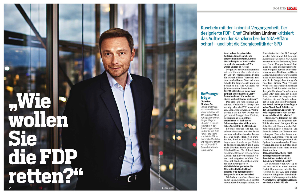 FOCUS Magazine, Germany, 04.11.2013, Germany: Christian Lindner