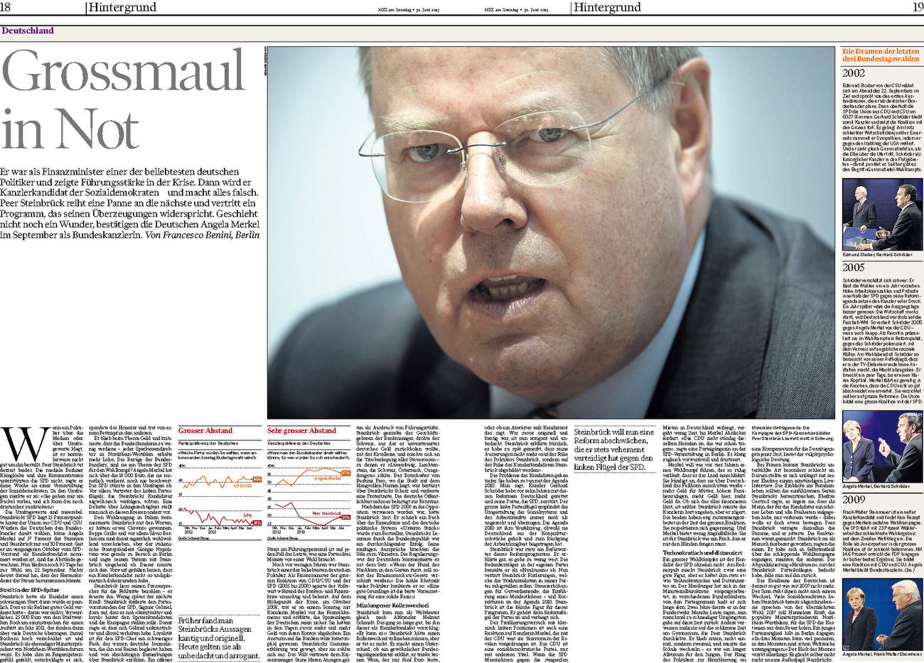 NZZ am Sonntag, Switzerland, 30.06.2013, German Social Democrats (SPD) chancellor candidate Peer Steinbrueck