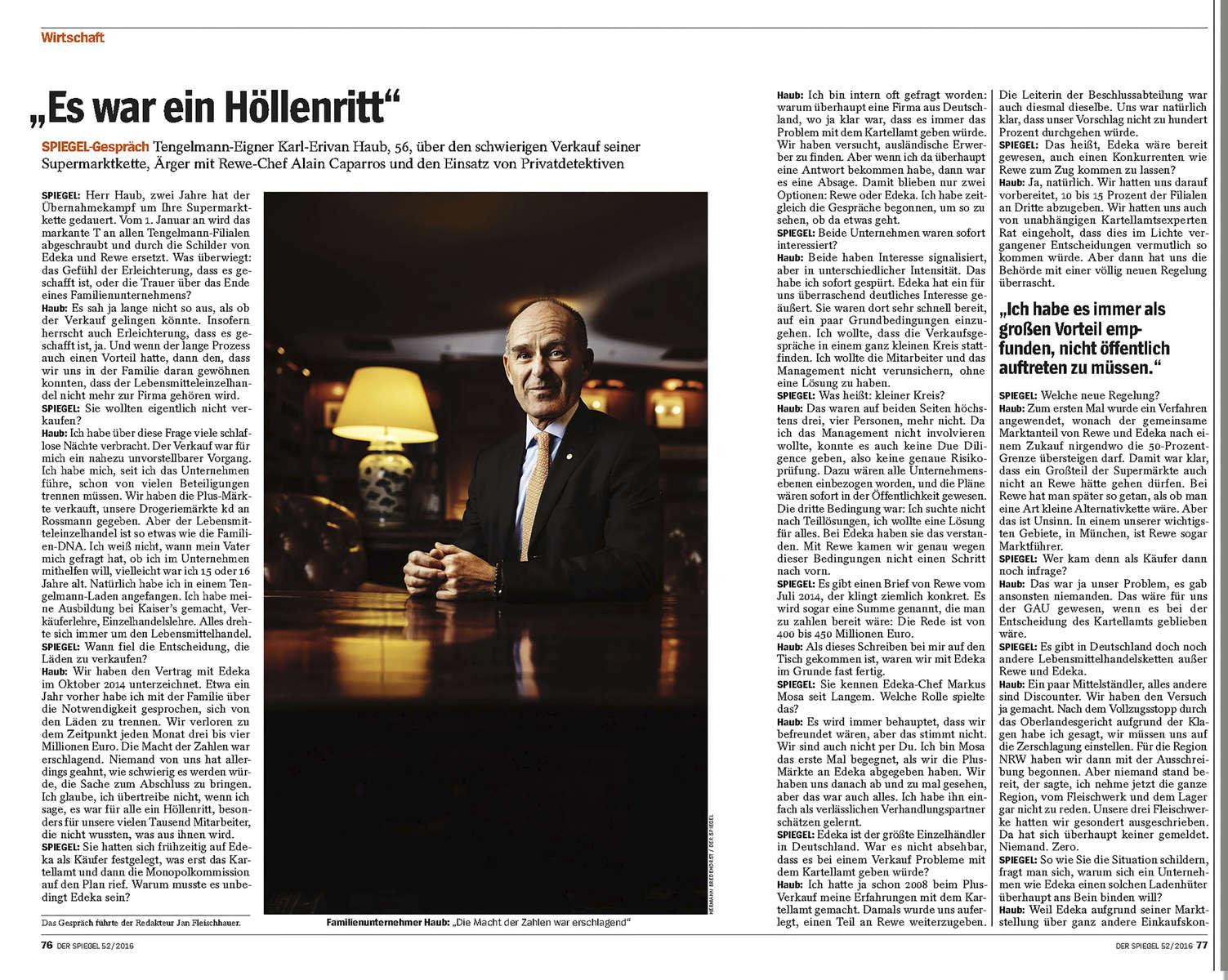 DER SPIEGEL, Germany, Portrait, Tengelmann CEO Erivan Haub