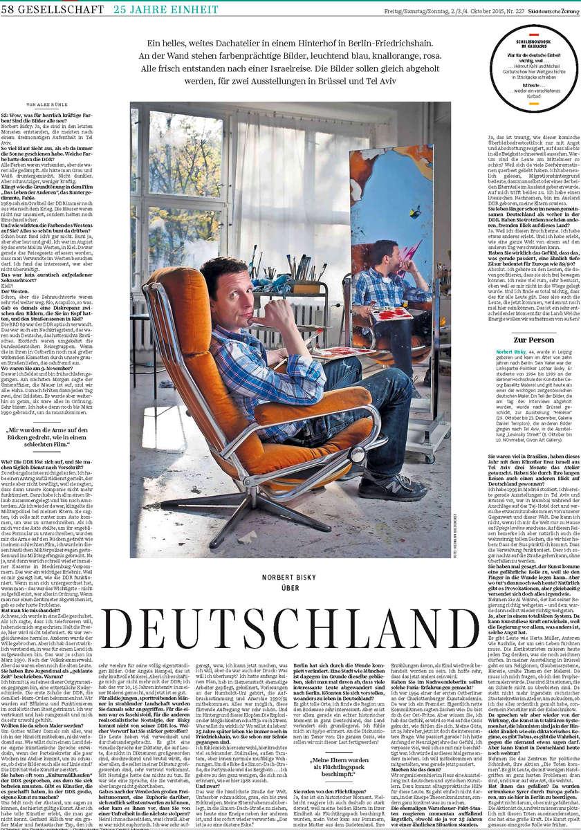 Germany, 03.10.2015, Suedeutsche Zeitung, Portrait German Artist Norbert Bisky