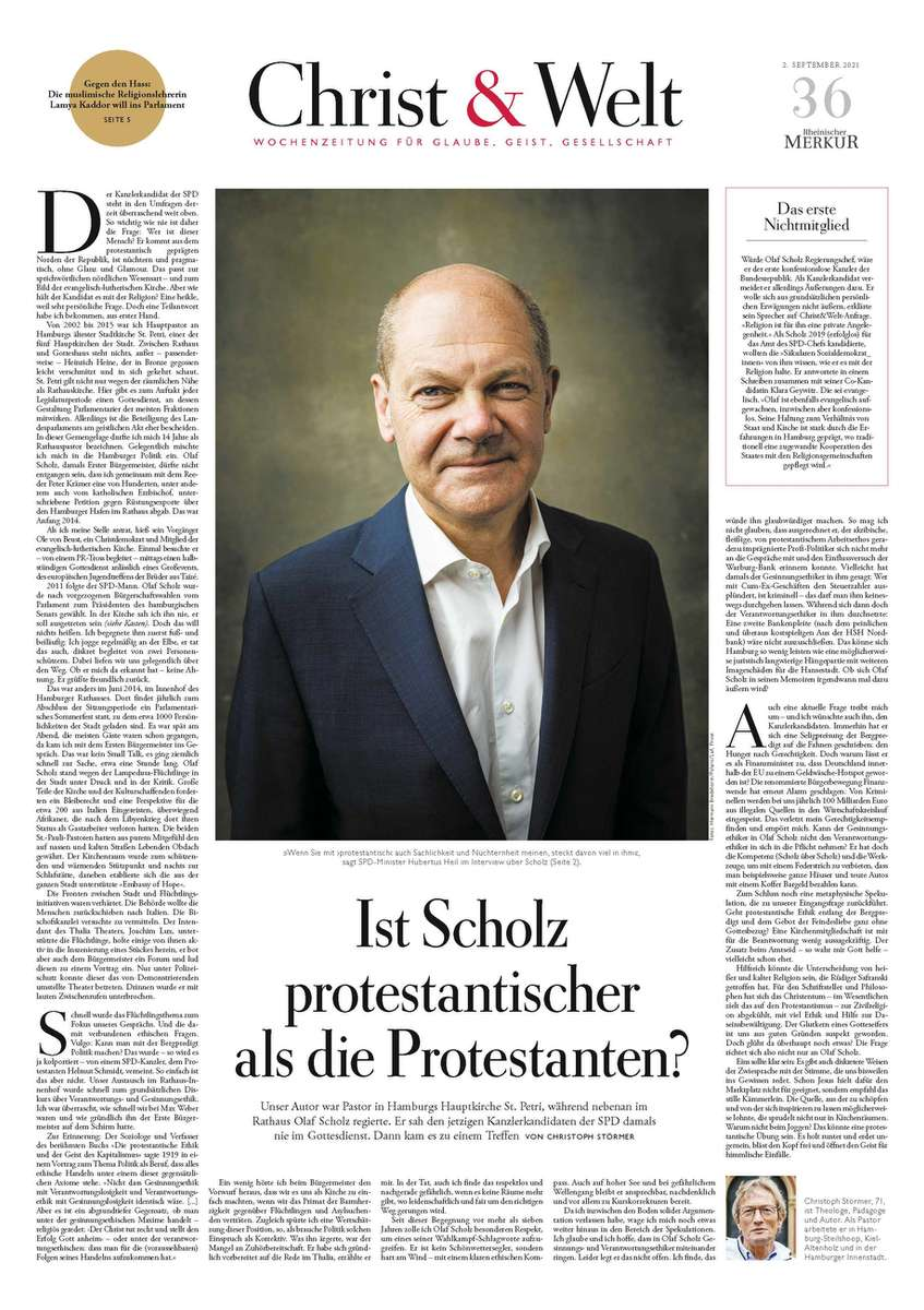 Germany, Christ und Welt, Olaf Scholz, SPD candidate for chancellor