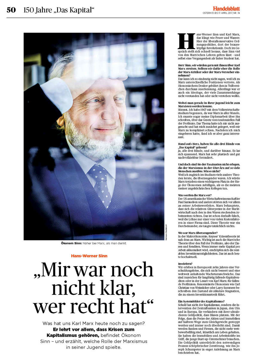 Handelsblatt, Germany, Sinn on Marx