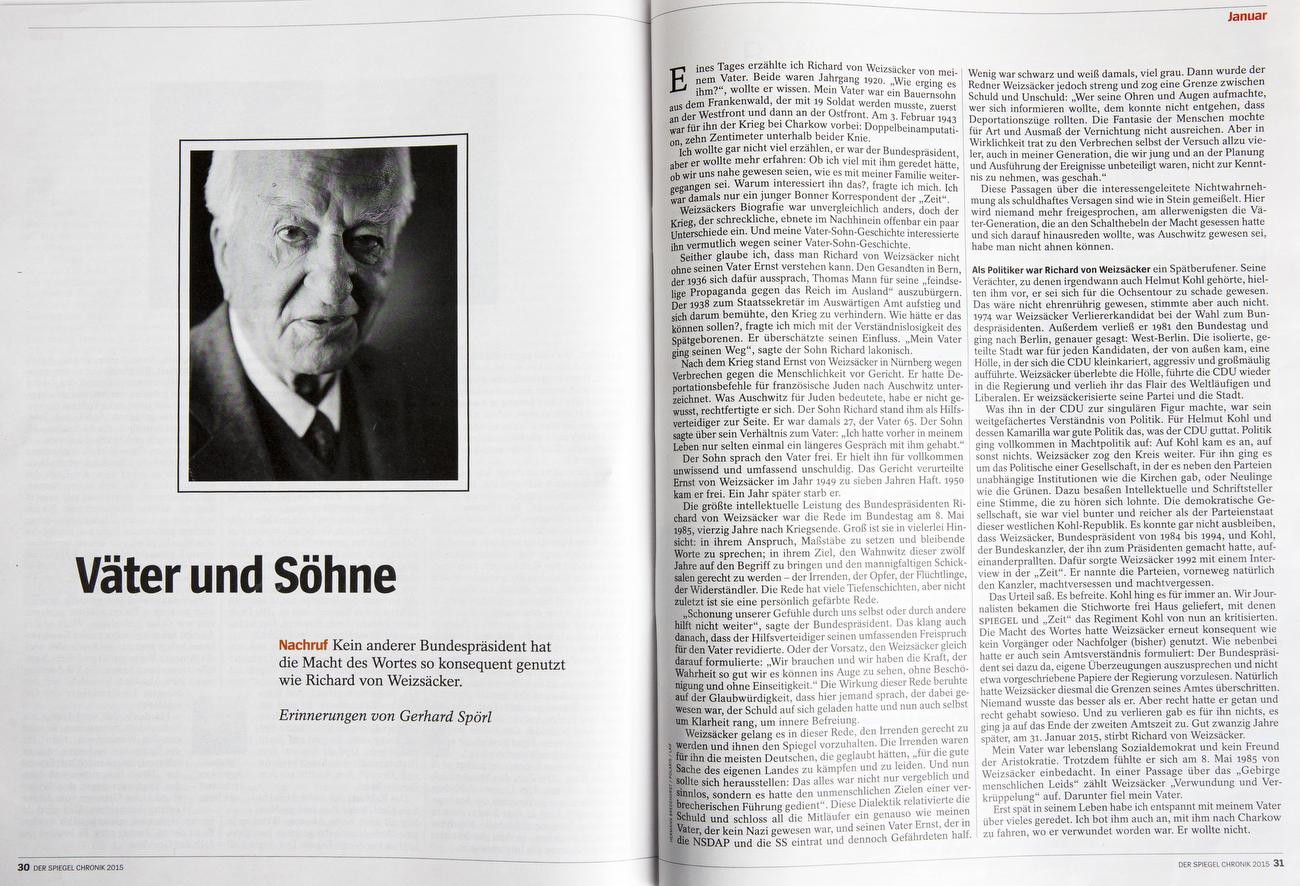 Germany, SPIEGEL Chronik 2015 Richard von Weizaecker died in Jan. 2015