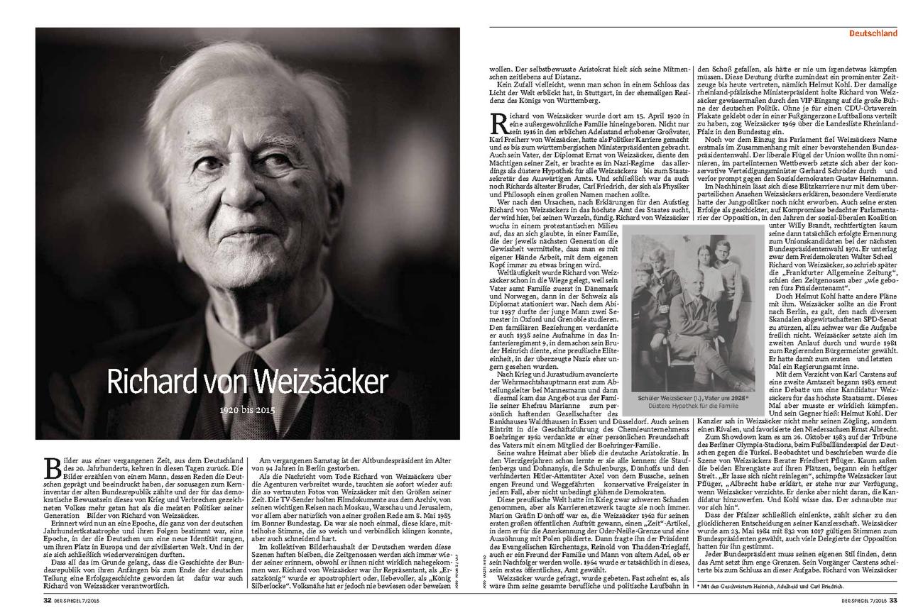 DER SPIEGEL, Germany; Richard von Weizäcker, 07.02.2015