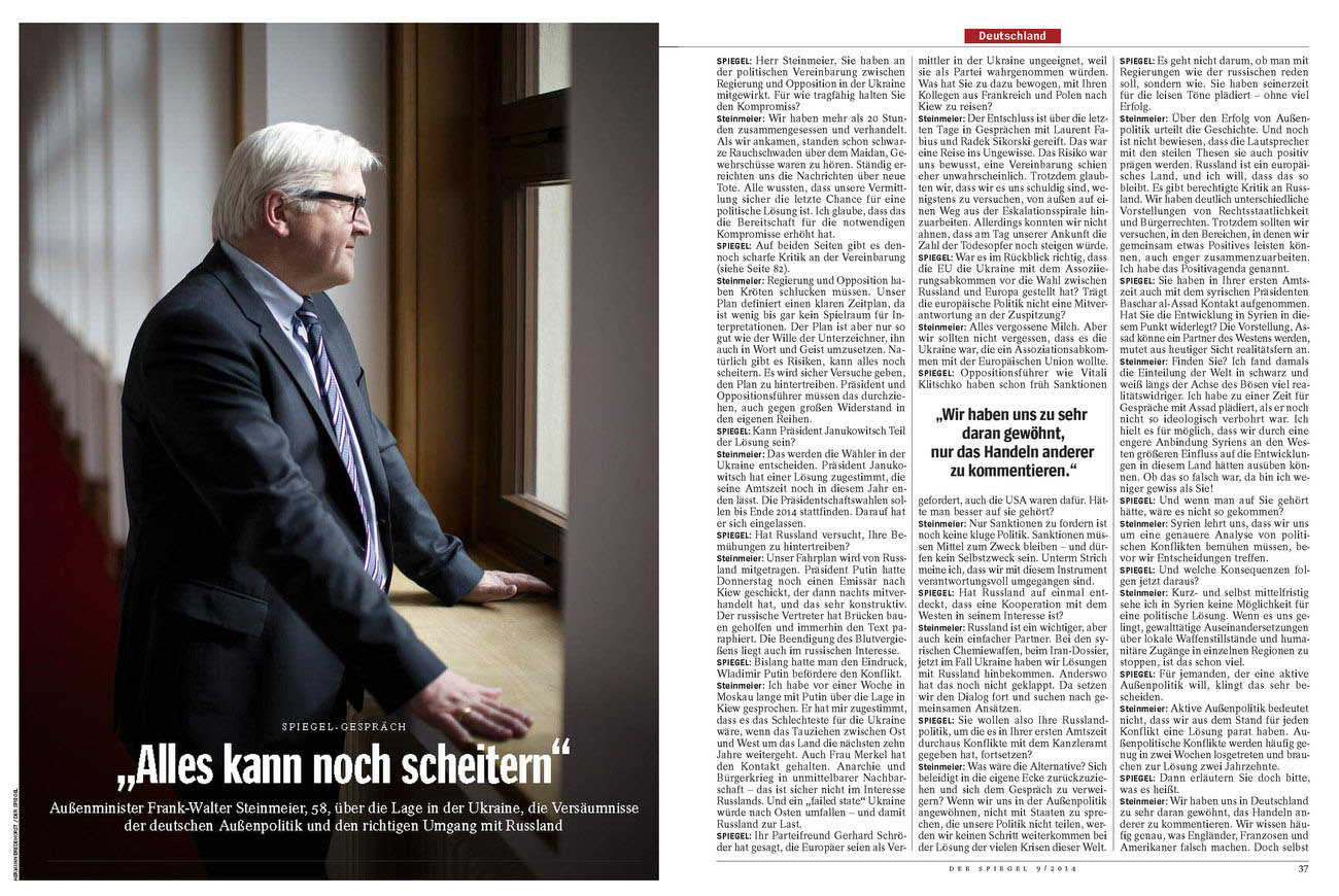 SPIEGEL, Germany, Frank Walter Steinmeier, German Foreign Minister, 24.02.2014