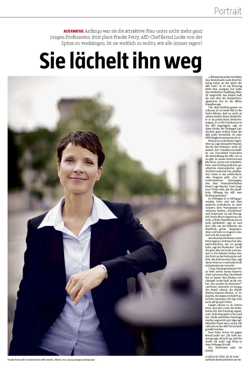 TAZ, Germany, Frauke Petry, AfD party co leader