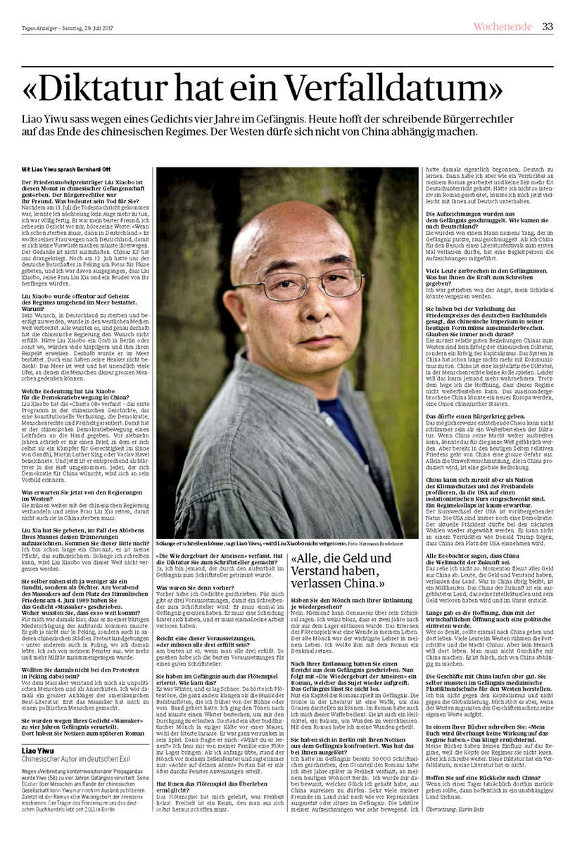 Tagesanzeiger; Switzerland, Author Liau Yiwu