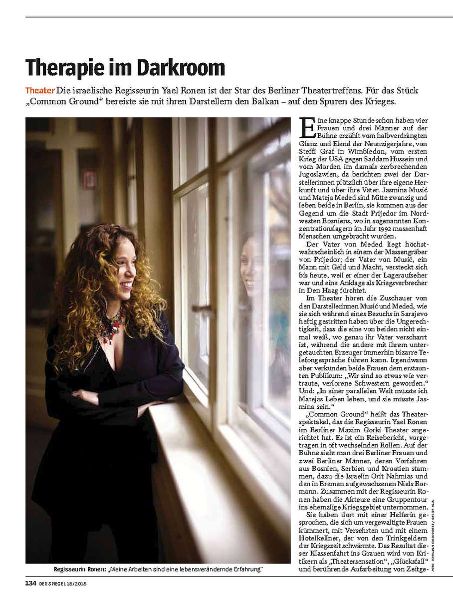 DER SPIEGEL, Germany;  Yael Ronen, Austrian - Israeli author and  director, 25.04.2015