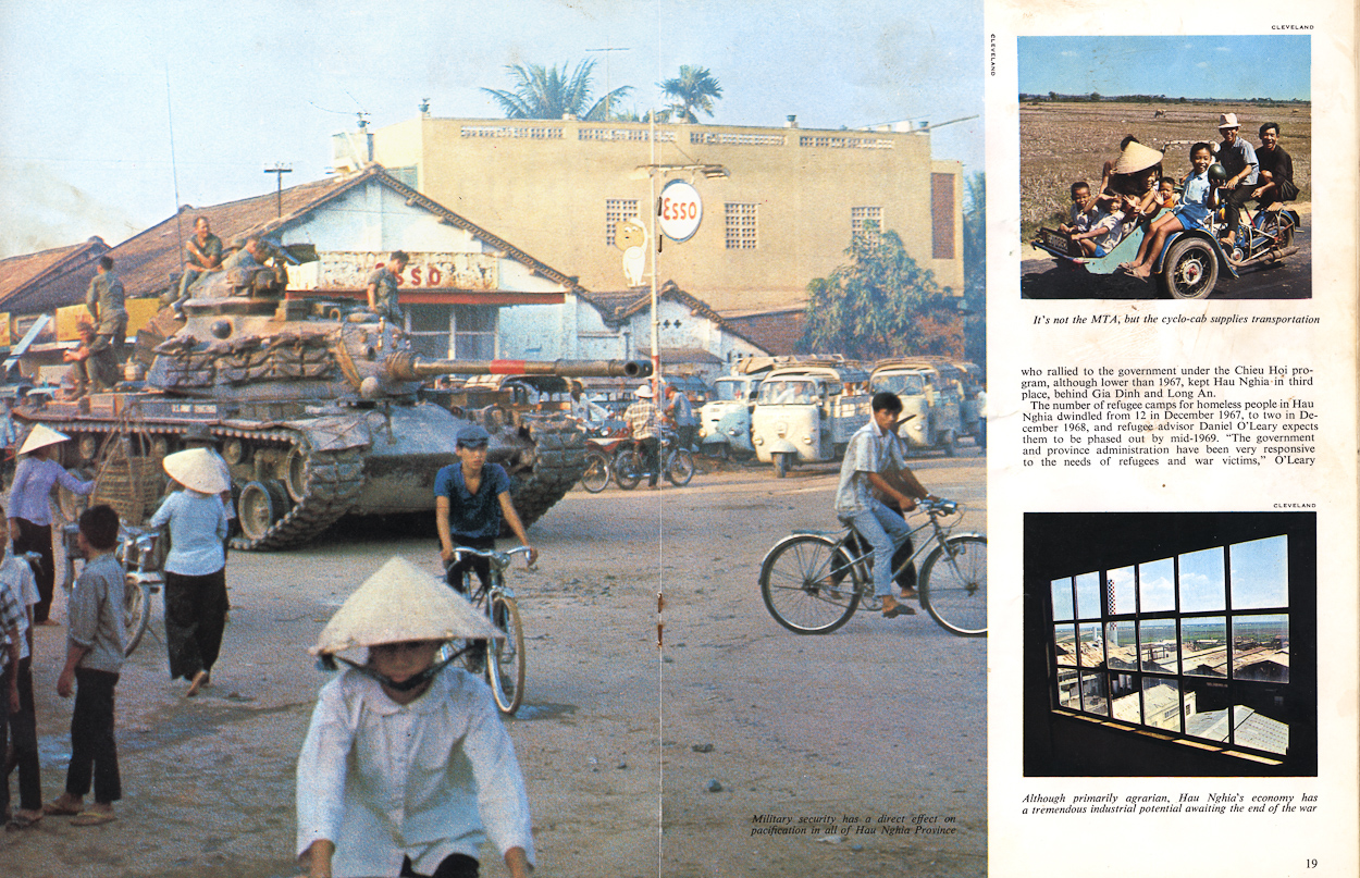 Tank 37 and driver, John Phelan, at the front of the tank were on loan to Sgt. Jenkins (A-15) and his crew as they sit in the city center of Trang Bang, South Vietnam. This picture and story, {quote}Hau Nghia Revisited{quote} written by Spec. 5 Arnold Braeske, and photographed by Jerry Cleveland ran in the April 1969 issue of {quote}The Hurricane{quote}, a publication of II Field Force Vietnam. I had the pleasure of finding both Braeske and Cleveland on the internet and in turn speaking with both of these veterans on Memorial Day, May 28th, 2012! Thank you both for your service and Welcome Home!