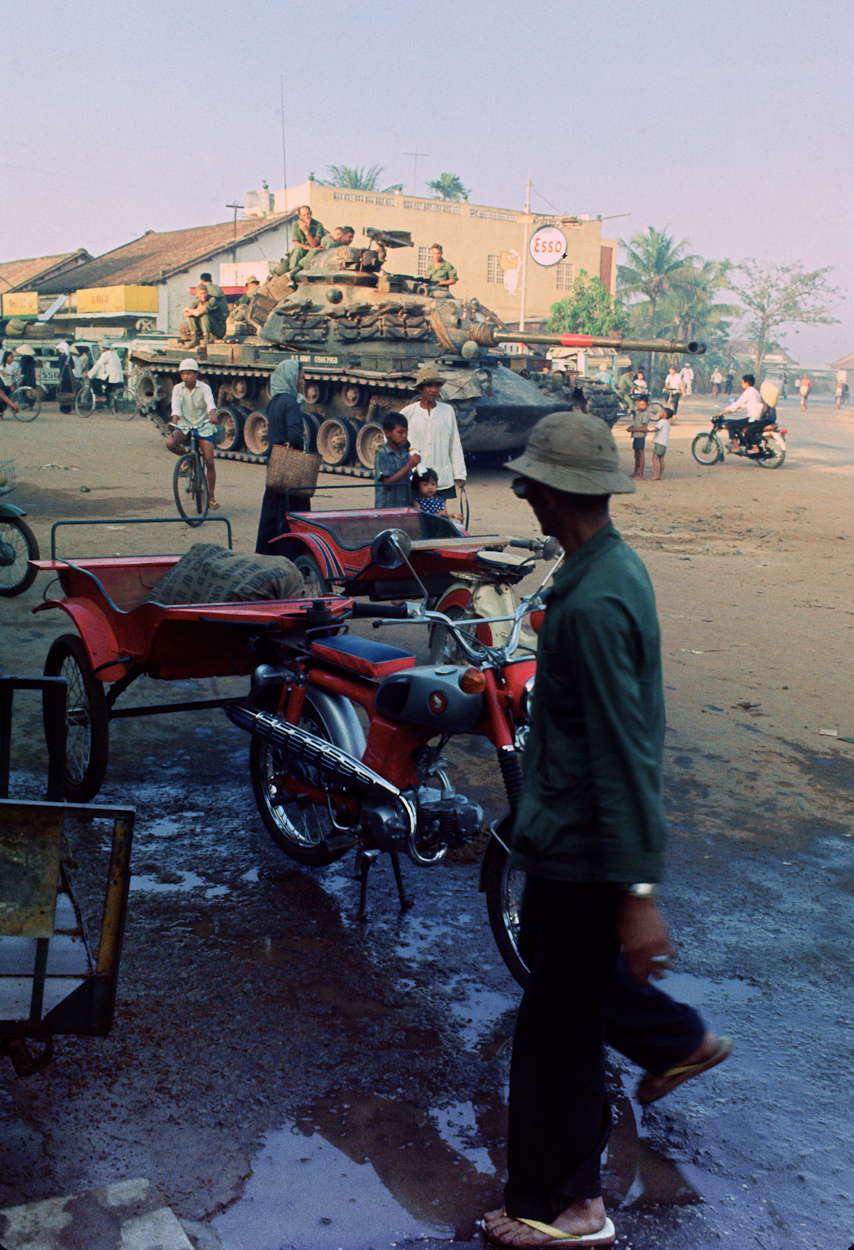 Pulling security in the village of Trang Bang, South Vietnam, sometime around February 1st, 1969. Tank driver, John Phelan - visible on far right of the tank, was on loan with A-37 to the 1st Platoon of A Troop, 3/4 Cav, 25th Infantry Division. Sgt. Jenkins (A-15) can be seen in the cupola of the tank. This picture was taken by Spec. 5 Arnold Braeske, the author of the article mentioned in the previous image. Photo courtesy of Arnold Braeske. Thank you Arnie!