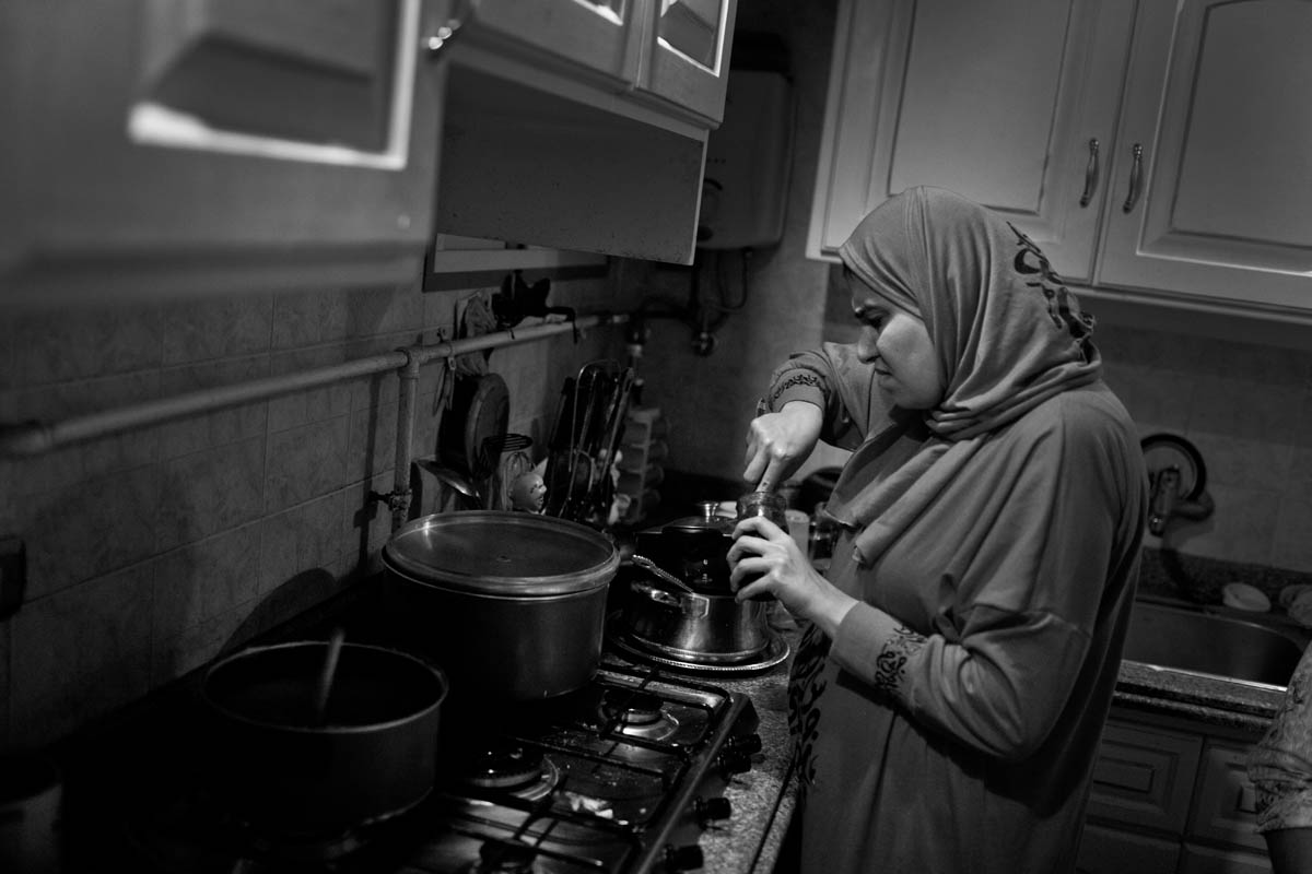 Heba cooks everyday for her daughter and herself