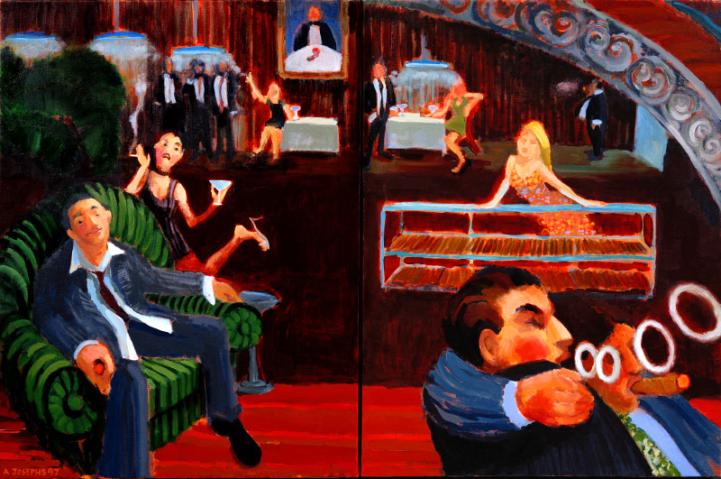 The Cigar Bar : 1997. 60{quote} X 36{quote} Oil. Private Collection