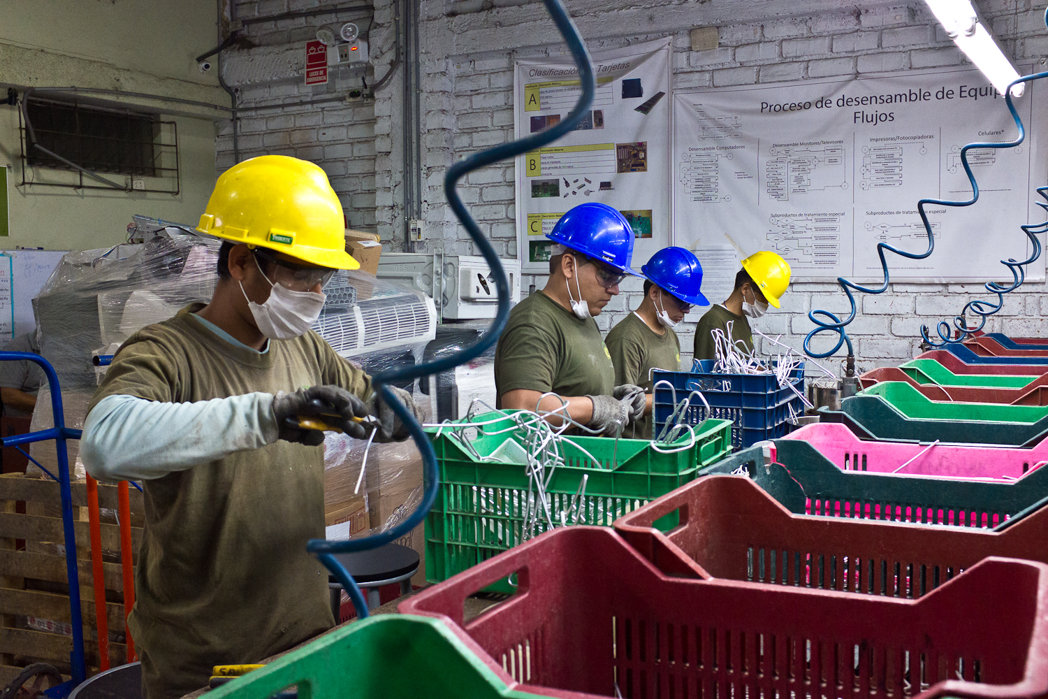 At Peru Green's recycling facility, worker safety is paramount, products are dismantled and sorted at workstations. A small percentage of components are sold to a local metals processor. The majority of components, such as printed circuit boards and copper cables, are sorted and shipped to either the U.S., Europe or China for further processing as Peru Green does not currently have a mechanism to reduce or shred components down to their commodity, or raw material, level.Here, workers use pneumatic tools to dismantle products and wear protective gear. Dismantlers in the informal sector perform the same actions, only with less sophisticated tools.Workers such as these are paid a salary with benefits. Based on interviews with stakeholders, collboration between the informal and formal sectors is currently absent. The rise of the formal electronics recycling sector may threaten the informal sector's access to products and their components for resale, although one recycler noted that there is plenty of material to process in Lima. How can the formal and informal sectors work together so that both sectors of the economy and their relative benefits to society and the environment can thrive?