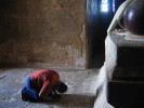 Worshipper inside a temple in Bagan.