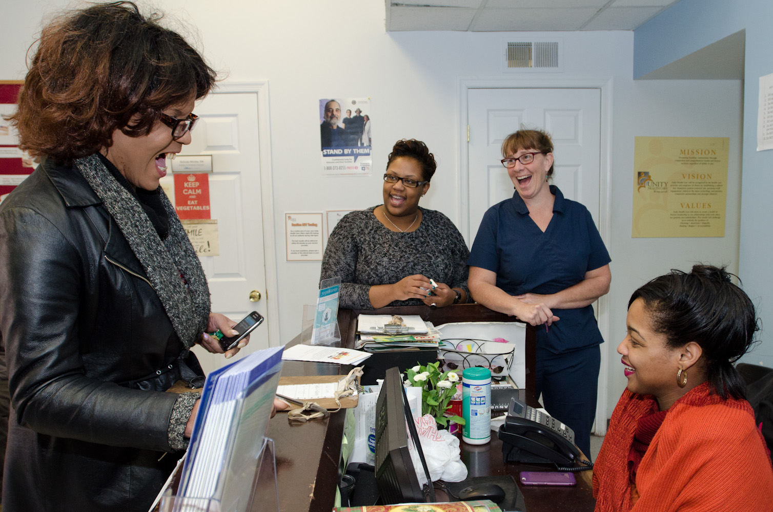 "Dee greets Pathways' receptionists and medical staff, who see her come through thr organization's doors at least once a week. Dee credits her ACT team, supported employment individuals and receptionists at Pathways to Housing DC with getting back on her feet. ""They all impacted my life and recovery."""