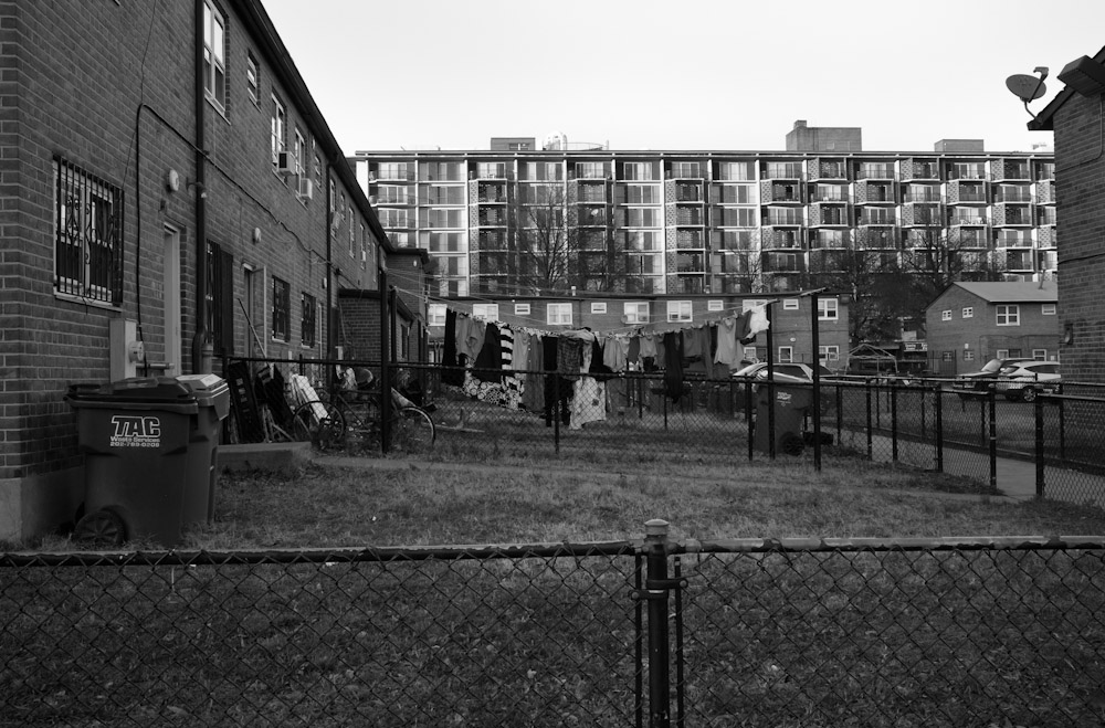 Greenleaf Gardens' low-rise housing community for low income residents. Current planning discussions include much-needed redevelopment of Greenleaf Gardens. Many residents fear that they will not be able to remain in, or return to, their homes should new construction take place.