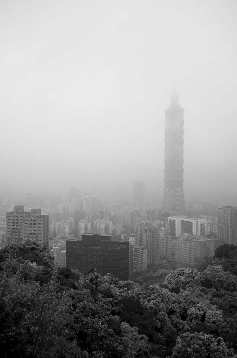 View of Taipei 101 from Elephant Hill in springtime.
