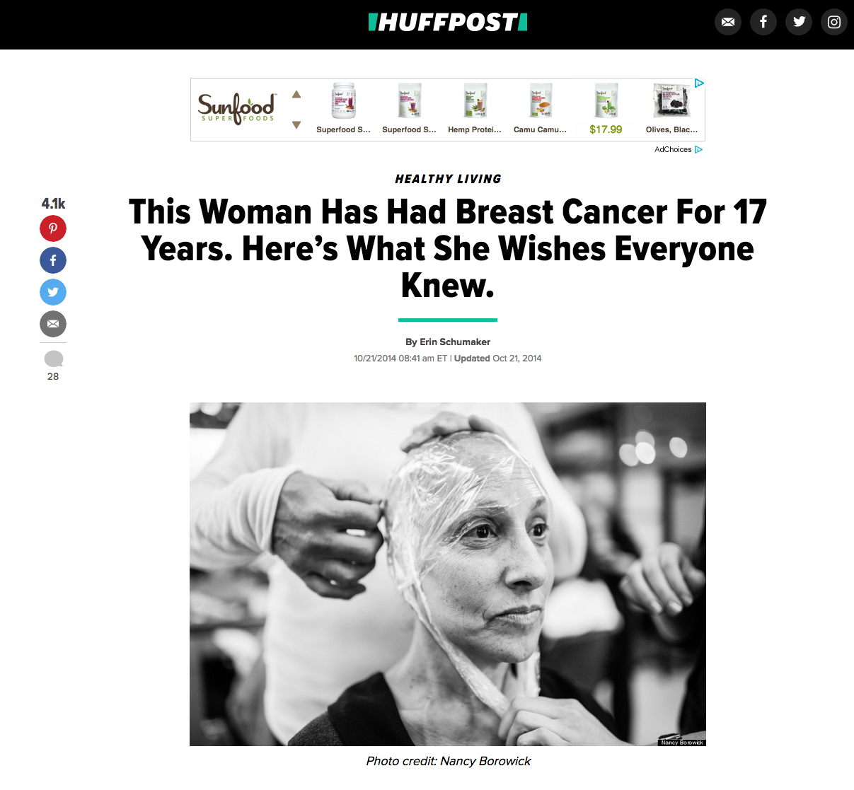 In a rare interview, my mother had the opportunity to share her story of her life with breast cancer on Huffington Post's Healthy Living platform. Thank you to editor and long time friend Erin Schumaker for making this happen!Read it here