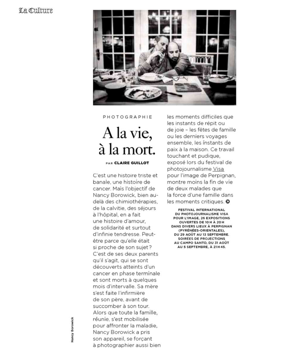 Exhibiting my photographs of my family in France at the Visa Pour L'Image Festival was one of the major highlights of my career, and life. Le Monde generously featured my story in their publication around the festival.