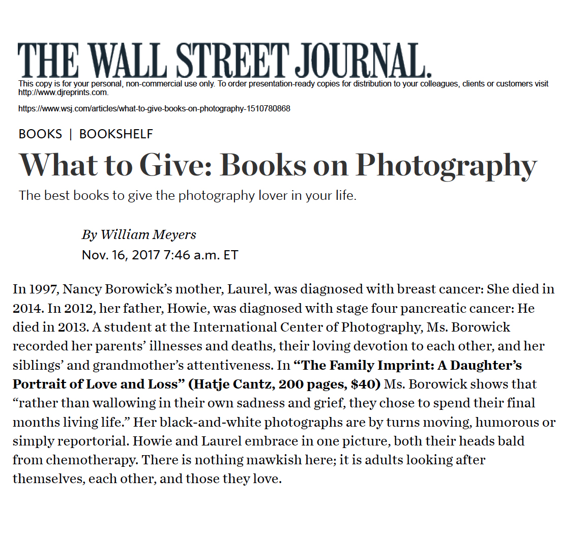 The Family Imprint has its first international newspaper book review in the Wall Street Journal. Whoa! What an honor to be inluded in this photography book gift guide! Read it here.