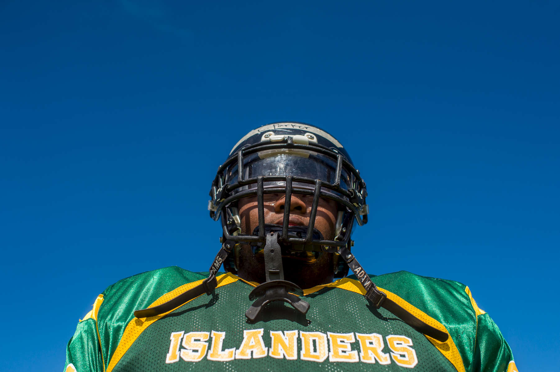 Christopher Parker, 17, is a senior at John F. Kennedy High School in Guam and is a defensive lineman on his school's football team. (Aug 14, 2017)Photo by Nancy Borowick