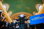 Senator Charles Schumer announces the Commuter Benefits Equity Act, which would extend federal mass transit benefits that are currently scheduled to expire January 1st. (Nov. 11, 2013)Photo by Nancy Borowick