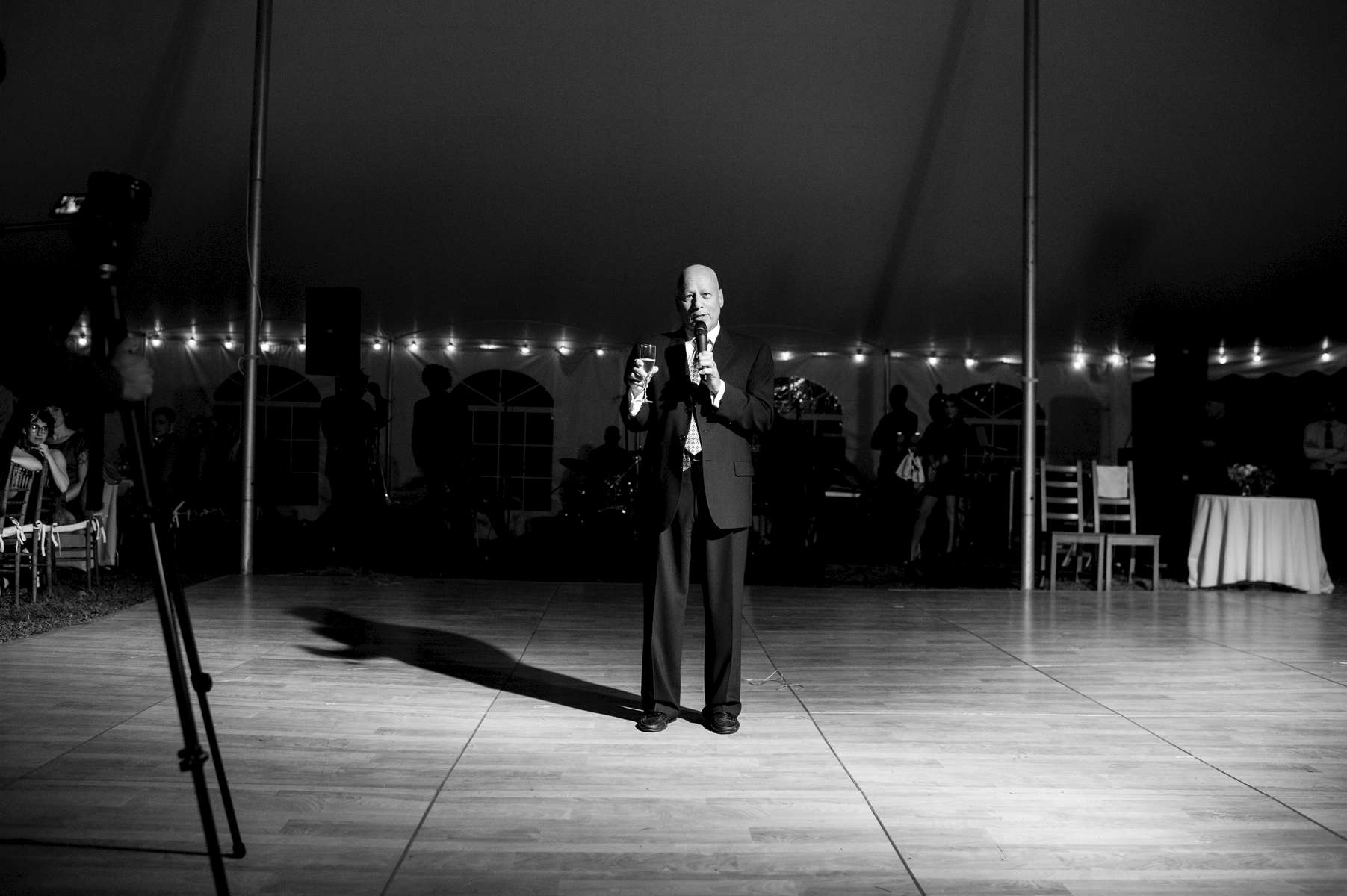 Howie Borowick takes center stage at daughter Nancy's wedding to give his father-of-the-bride speech. Highland, New York. October, 2013.