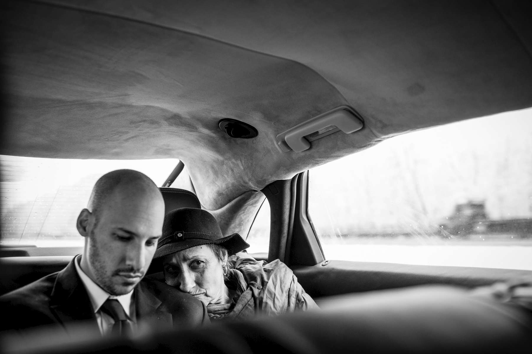 Mom rested on the shoulder of her son, Matthew, as they rode in the limousine to Dad's burial on Long Island.