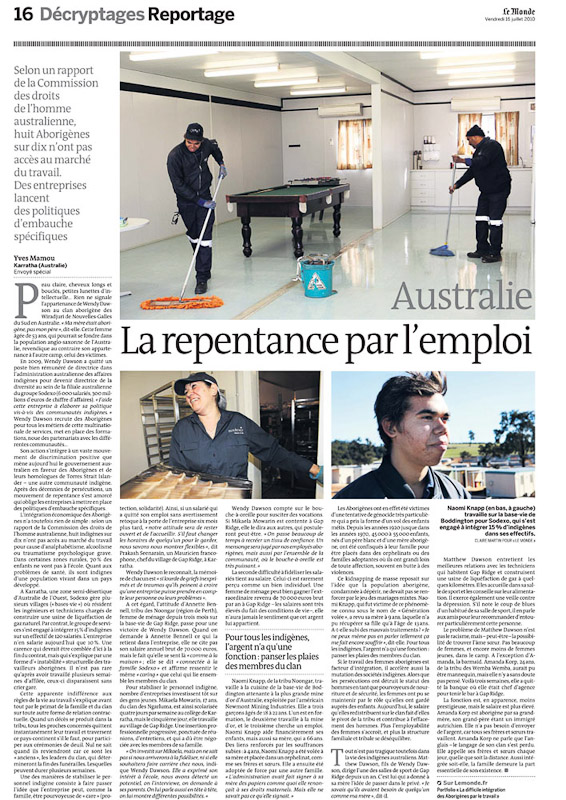 Story on Mining supporting Aboriginals in the Workplace for Le Monde Newspaper - France.