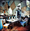 The interior of one of the hand built geodesic domes from the 70's in one of the many communes around Nimbin. Materials were transported up a cliff side with a hand drawn flying fox system. The dome has water which is pressure fed from the near by stream and an effective solar power system designed andcreated by the owner.