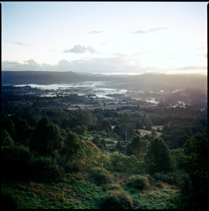 The view over Nimbin from Tuntable Falls Rd, on the way to Nightcap National Park.