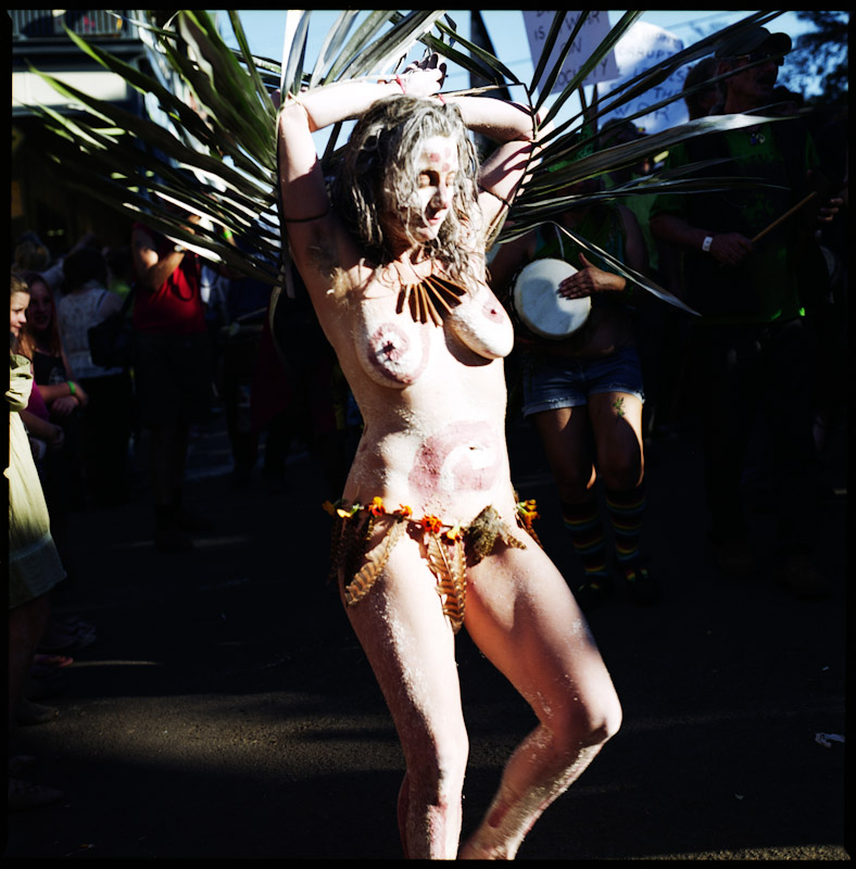 During the Nimbin Mardi Grass, an annual rally to legalize marijuana, this woman interprets the style of the traditional Bundjalung aboriginal people.