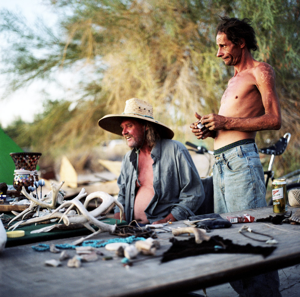 Jim (left) and Jerry (right) try to sell trinkets to other {quote}slabbers{quote}.