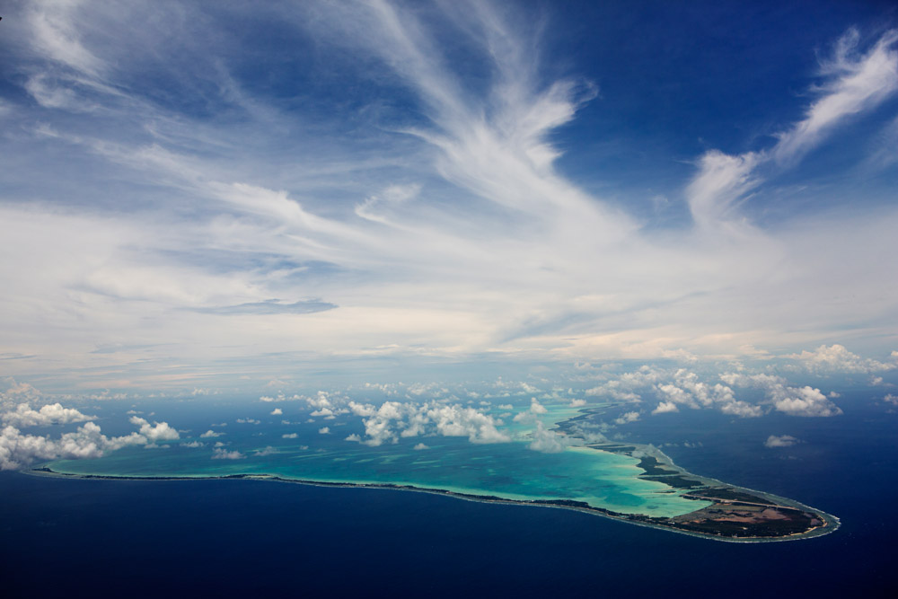 Aerial photo of Tarawa Island, Kiribati.