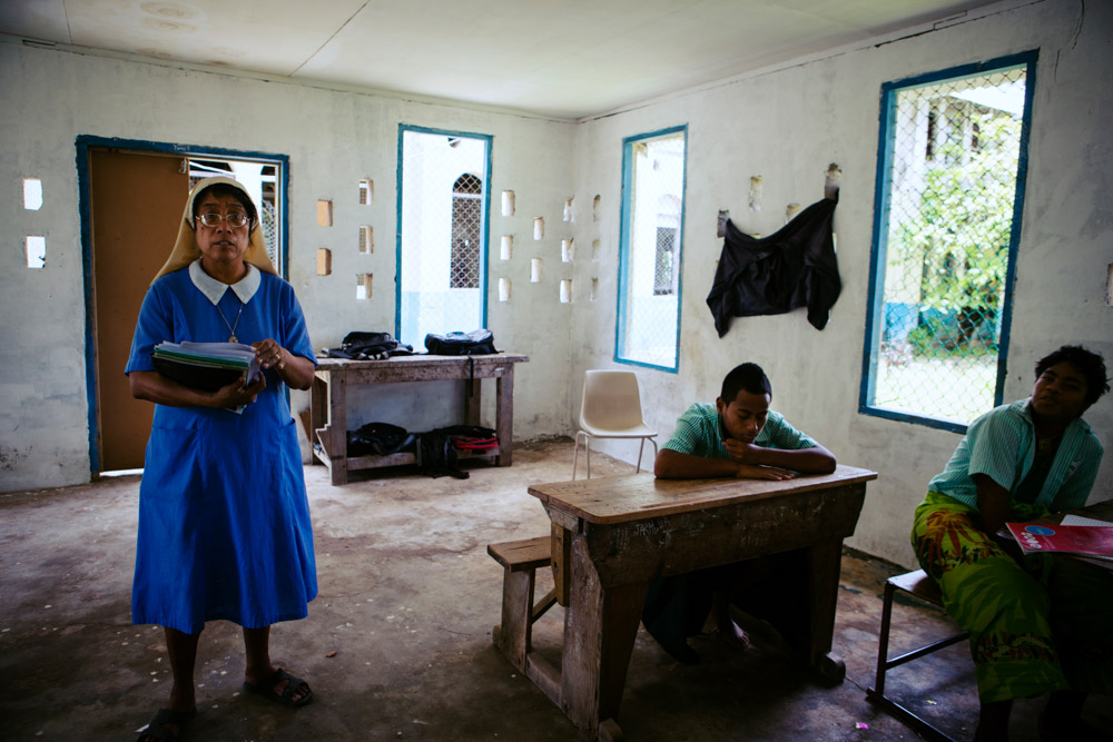 Nuns teach at st Jospephs college, Abiang Island. Founded in 1939,  it has gone from strength to strength and is now a leading centre for learning in Kiribati. Its alumni include both current President His Excellency Anote Tong, and previous incumbent Teburoro Tito.
