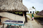 the Village Church Pastor's house is powered by solar, the most common source of light in Kiribati.