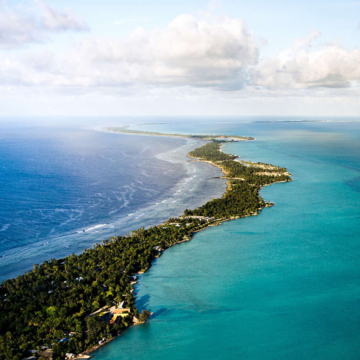 Aerial photograph of Tarawa Island, Kiribati at high tide.