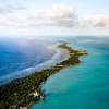 Aerial photograph of Tarawa Island, Kiribati at high tide.
