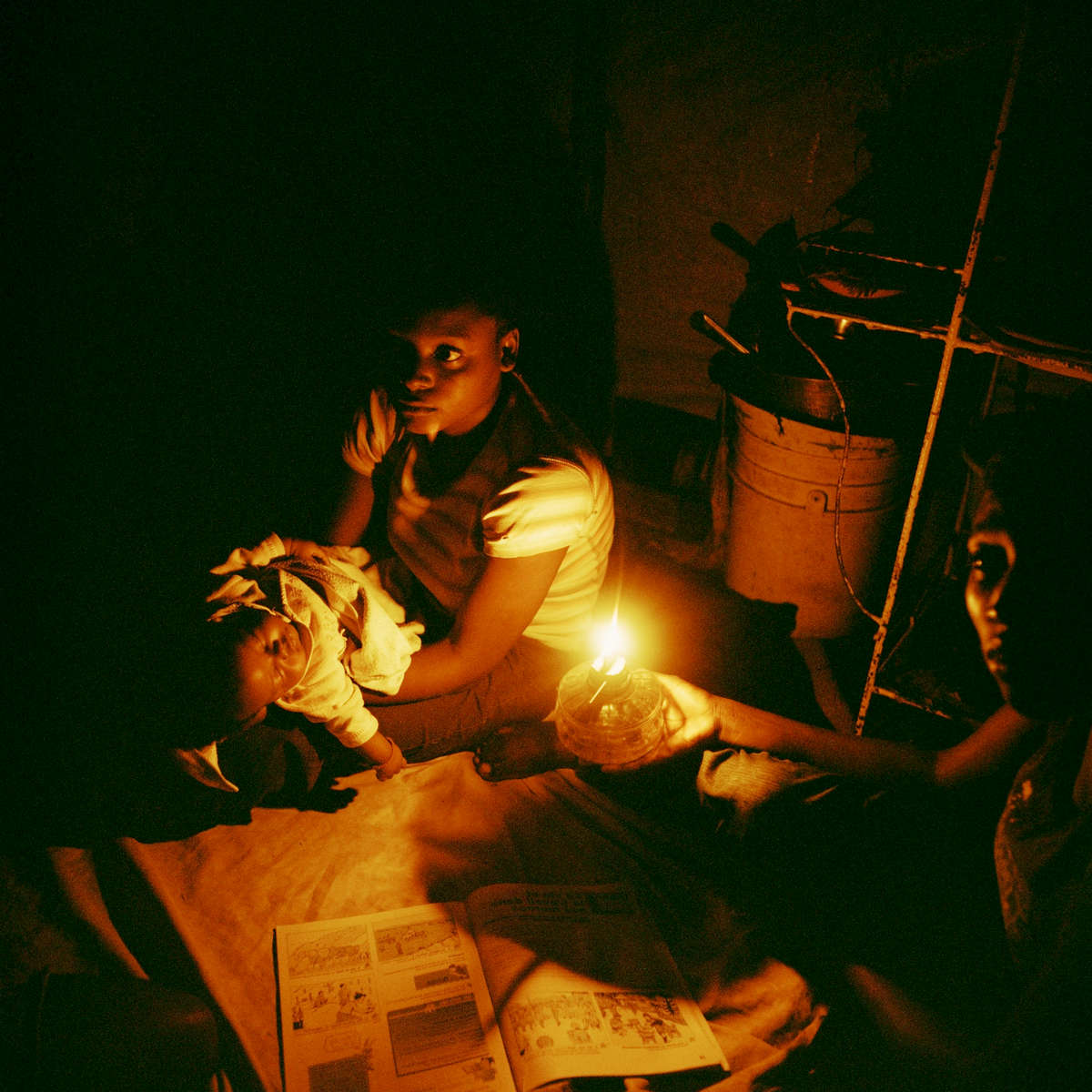 There is limited public electricity. Residential areas less affected by the earthquake receive intermittent electricity, usually for a few hours morning and night, although there is never a guarantee. Most electrical power comes from generators although the most common sources of light are bonfires and candles.