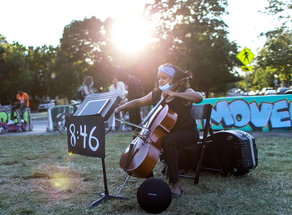 Beth Almore, Richmond Public Schools music teacher, plays cello.