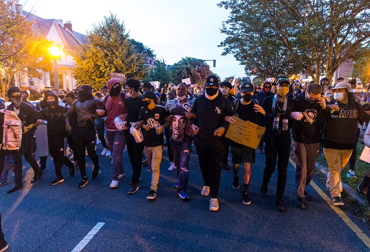Protesters march peacefully in Museum District, Richmond, Va.