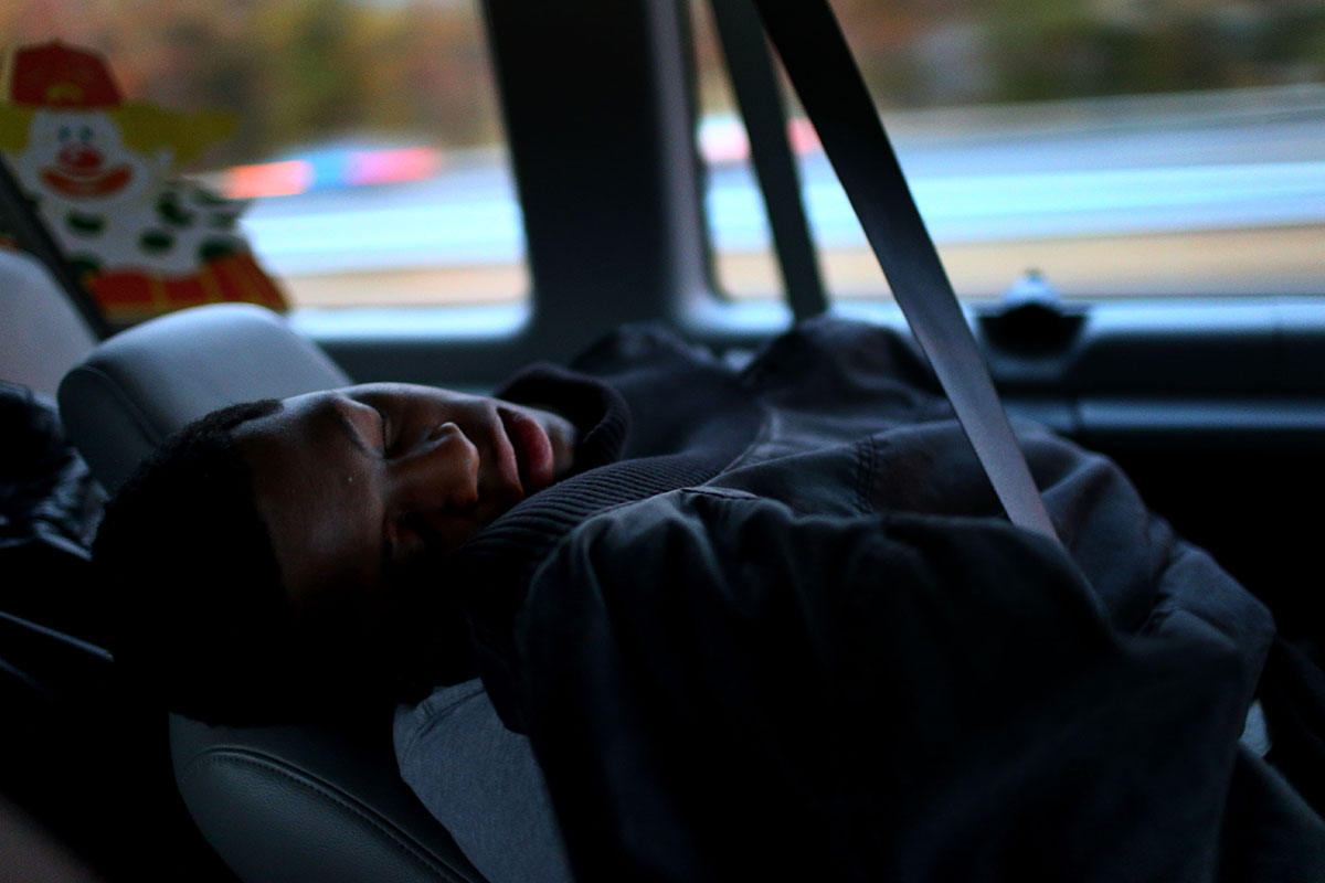 Edward sleeps as he leaves Richmond at 5 a.m. heading to Philadelphia to be checked for a skin infection, one of many medical issues, he has. He got a ride from volunteers of ACCA Temple of Richmond to Shriners Hospitals for Children in Philadelphia. Edward's feet have opened wounds by pressure from his bones as gunshots paralyzed Edward from the waist down.